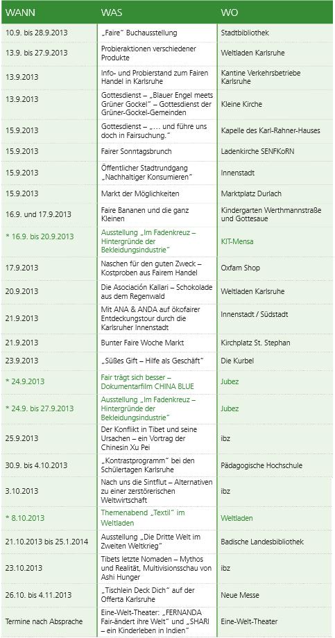 Das Programme der Fairen Woche in Karlsruhe
